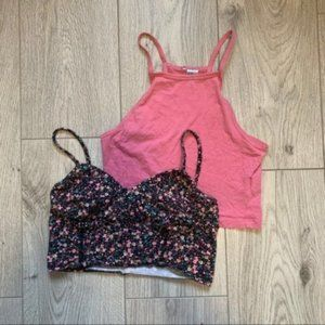 Bundle of two cropped top floral and solid small
